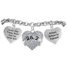 "<BR>      WHOLESALE RUNNING WALKING THEMED <BR>      JEWELRY COMPLETELY HYPOALLERGENIC     <BR> W21828B2-CLEAR CRYSTAL AND SILVER TONE<BR>""26.2""RUN/WALK THEMED HEART CHARM WITH<BR>""NEVER QUIT""&""ALWAYS BELIEVE IN YOURSELF""<BR>    ON SILVER TONE CHAIN LINK LOBSTER CLASP    <BR>       BRACELET FROM $10.75 TO $16.25 �2015"