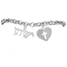 """<BR>"""" YESHUA """" (JESUS IN HEBREW) NAMED BY AN <BR>ANGEL OF GOD, WITH A OPEN CROSS IN A HEART, <BR>   EXCLUSIVELY OURS! AN ALLAN ROBIN DESIGN,<BR>     HYPOALLERGENIC-SAFENICKEL, LEAD, &<BR>      CADMIUM FREE! ADJUSTABLEBRACELET,<BR>     W21887B2 -FROM $7.90 TO $12.50 �2016"""