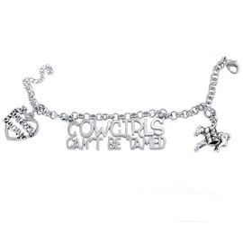 """<BR>  WHOLESALE WESTERN RODEO FASHION JEWELRY     <BR>                COMPLETELY HYPOALLERGENIC     <BR>    W21892B2 - LARGE POLISHED SILVER TONE     <BR>""""COWGIRLS CAN'T BE TAMED"""" CHARM WITH LADY    <BR>  BARREL RACER AND """"I LOVE BARREL RACING""""  <BR>  ON SILVER TONE CHAIN LINK LOBSTER CLASP    <BR>     BRACELET FROM $11.75 TO $17.50 �2015"""