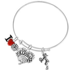"""<BR>           WHOLESALE SPORTS FASHION JEWELRY     <BR>                  COMPLETELY HYPOALLERGENIC     <BR>         W22029B9 - CRYSTAL AND SILVER TONE     <BR>              """"VOLLEYBALL"""" HEART CHARM WITH    <BR>I LOVE VOLLEYBALL AND LADY VOLLEYBALL PLAYER  <BR>        ON ADJUSTABLE SILVER TONE THIN WIRE   <BR>       BRACELET FROM $10.75 TO $16.25 �2015"""
