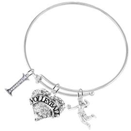"""<BR>           WHOLESALE SPORTS FASHION JEWELRY     <BR>                  COMPLETELY HYPOALLERGENIC     <BR>         W22032B9 - CRYSTAL AND SILVER TONE     <BR>         """"I"""", HEART """"VOLLEYBALL"""" CHARM WITH    <BR>      3D SILVER TONE LADY VOLLEYBALL PLAYER  <BR>        ON ADJUSTABLE SILVER TONE THIN WIRE   <BR>       BRACELET FROM $10.75 TO $16.25 �2015"""