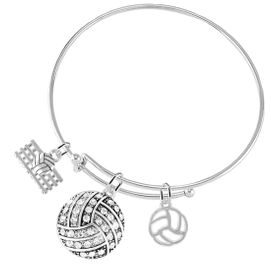 """<BR>           WHOLESALE SPORTS FASHION JEWELRY     <BR>                  COMPLETELY HYPOALLERGENIC     <BR> W22037B9 - SILVER TONE AND CRYSTAL COVERED     <BR>   """"VOLLEYBALL"""" BALL CHARM WITH SILVER TONE  <BR>   VOLLEYBALL BALL WITH NET & OUTLINED BALL <BR>        ON ADJUSTABLE SILVER TONE THIN WIRE   <BR>       BRACELET FROM $10.75 TO $16.25 �2015"""