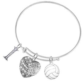 """<BR>           WHOLESALE SPORTS FASHION JEWELRY     <BR>                  COMPLETELY HYPOALLERGENIC     <BR>         W22050B9 - CRYSTAL AND SILVER TONE      <BR>  """"I"""", HEART-SHAPED """"VOLLEYBALL"""" CHARM WITH     <BR>   3D SILVER TONE AND WHITE VOLLEYBALL BALL  <BR>        ON ADJUSTABLE SILVER TONE THIN WIRE   <BR>       BRACELET FROM $10.75 TO $16.25 �2015"""