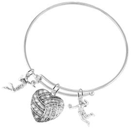 """<BR>           WHOLESALE SPORTS FASHION JEWELRY     <BR>                  COMPLETELY HYPOALLERGENIC     <BR>         W22052B9 - CRYSTAL AND SILVER TONE      <BR>  """"HEART-SHAPED """"VOLLEYBALL"""" CHARM WITH TWO   <BR>  SILVER TONE LADY VOLLEYBALL PLAYER CHARMS <BR>        ON ADJUSTABLE SILVER TONE THIN WIRE    <BR>       BRACELET FROM $10.75 TO $16.25 �2015"""