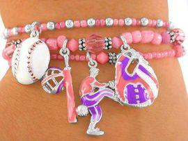 "<BR>          W2254B - EXCLUSIVELY OURS,<br>  FABULOUS ""LITTLE GIRLS' BASEBALL""<br>LEAD & NICKEL FREE STRETCH BRACELET<BR>             FOR 4 YEAR OLDS OR OLDER<BR>                     AS LOW AS $5.68 EACH"