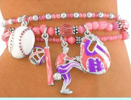 """<BR>          W2254B - EXCLUSIVELY OURS,<br>  FABULOUS """"LITTLE GIRLS' BASEBALL""""<br>LEAD & NICKEL FREE STRETCH BRACELET<BR>             FOR 4 YEAR OLDS OR OLDER<BR>                     AS LOW AS $5.68 EACH"""