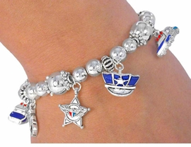 W2457B - LAW ENFORCEMENT<br>   STRETCH CHARM BRACELET<Br>              AS LOW AS $3.25