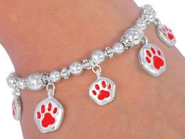 "W2460B - RED ""SCHOOL SPIRIT""<BR>          PAWS BRACELET FROM<bR>                  $5.63 TO $12.50"