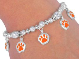 "W2462B - ORANGE ""SCHOOL<BR>     SPIRIT"" PAWS BRACELET<BR>          FROM $3.35 TO $7.50"