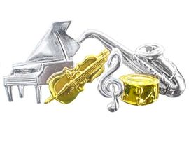 <BR>  W2741P-NEW TWO-TONE<BR>MUSICAL INSTRUMENTS PIN<BR>           AS LOW AS $4.00