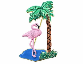 W2767P-EYE-CATCHING FLAMINGO<BR> & PALM TREE PIN AS LOW AS $3.90