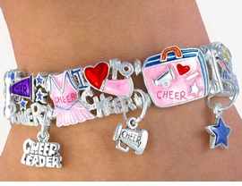 "<BR>  W2880B-""CHEER POWER"" STRETCH<BR>     LEAD, CADMIUM, & NICKLE FREE<BR>    CHEERLEADER CHARM BRACELET<BR>        FROM $8.85 TO 19.25 �2005"