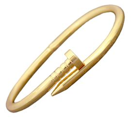<BR>W29469B12  <BR>     GOLDTONE NAIL - EXCITING NEW FASHION BRACELET<BR>OPENS FOR EASY FIT, HYPOALLERGENIC SAFE - NO NICKEL, <BR>     NO LEAD, NO POISONOUS CADMIUM IN METAL. <br>      BUY FROM $8.38 TO $12.38
