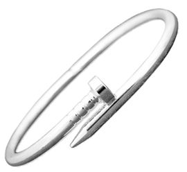 <BR>W29470B12  <BR>   SILVERTONE NAIL - EXCITING NEW FASHION BRACELET<BR>OPENS FOR EASY FIT, HYPOALLERGENIC SAFE - NO NICKEL, <BR>     NO LEAD, NO POISONOUS CADMIUM IN METAL. <br>      BUY FROM $8.38 TO $12.38