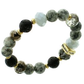 "<BR>      W29474B12 - EXCITING NEW FASHION JEWELRY EXCLUSIVE <BR> BLACK, GLASS AND WHITE MARBLE BEADED STRETCH BRACELET <BR>    ""FAITH"" ""HOPE"" ""LOVE"" ""BLESSED"" ON GOLD-TONED ACCENT <BR>                     NO NICKEL, LEAD, OR POISONOUS CADMIUM.  <br>                              BUY THIS BRACELET FOR $11.25 EACH"