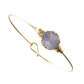<BR>     W29477B12 - EXCITING NEW FASHION JEWELRY EXCLUSIVE <BR>      PURPLE NATURAL GEODE CRYSTAL MIRACLE WIRE BRACELET <BR>    ADJUSTABLE GOLD TONE WIRE WITH BALL AND HOOK CLASP<BR>                     NO NICKEL, LEAD, OR POISONOUS CADMIUM.  <br>                              BUY THIS BRACELET FOR $10.00 EACH