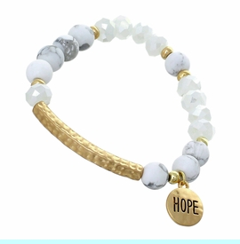 """<BR>     W29483B12 - EXCITING NEW FASHION JEWELRY EXCLUSIVE <BR>WHITE, GLASS AND WHITE MARBLE MINI BEADED STRETCH BRACELET <BR>    """"HOPE"""" ON TEXTURED GOLD-TONED ROUND ACCENT <BR>                     NO NICKEL, LEAD, OR POISONOUS CADMIUM.  <br>                              BUY THIS BRACELET FOR $11.25 EACH"""