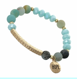 """<BR>     W29484B12 - EXCITING NEW FASHION JEWELRY EXCLUSIVE <BR>  SKY BLUE, GLASS AND EARTH-TONE MINI BEADED STRETCH BRACELET <BR>    """"HOPE"""" ON TEXTURED GOLD-TONED ROUND ACCENT <BR>                     NO NICKEL, LEAD, OR POISONOUS CADMIUM.  <br>                              BUY THIS BRACELET FOR $11.25 EACH"""
