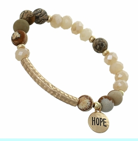 """<BR>     W29485B12- EXCITING NEW FASHION JEWELRY EXCLUSIVE <BR>EARTH-TONE, GLASS AND MARBLE MINI BEADED STRETCH BRACELET <BR>    """"HOPE"""" ON TEXTURED GOLD-TONED ROUND ACCENT <BR>                     NO NICKEL, LEAD, OR POISONOUS CADMIUM.  <br>                              BUY THIS BRACELET FOR $11.25 EACH"""