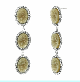 <BR>       W29488E - BEAUTIFUL NEW FASHION JEWELRY EXCLUSIVE <BR>  DUSKY AMBER NATURAL GEODE STONE AND CLEAR CRYSTAL ACCENTED<BR>    THREE TIERED SILVER TONE POST SETTING FASHION EARRINGS<BR>                     NO NICKEL, LEAD, OR POISONOUS CADMIUM.  <br>                            BUY THESE EARRINGS FOR $10.00 EACH