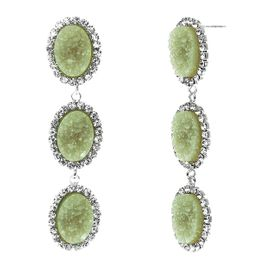 <BR>       W29490E - BEAUTIFUL NEW FASHION JEWELRY EXCLUSIVE <BR>  JADE GREEN NATURAL GEODE STONE AND CLEAR CRYSTAL ACCENTED<BR>    THREE TIERED SILVER TONE POST SETTING FASHION EARRINGS<BR>                     NO NICKEL, LEAD, OR POISONOUS CADMIUM.  <br>                            BUY THESE EARRINGS FOR $10.00 EACH