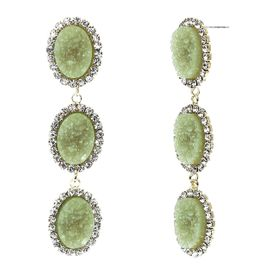 <BR>        W29491E - BEAUTIFUL NEW FASHION JEWELRY EXCLUSIVE <BR>  JADE GREEN NATURAL GEODE STONE AND CLEAR CRYSTAL ACCENTED<BR>    THREE TIERED GOLD TONE POST SETTING FASHION EARRINGS<BR>                     NO NICKEL, LEAD, OR POISONOUS CADMIUM.  <br>                            BUY THESE EARRINGS FOR $10.00 EACH