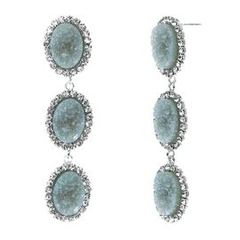 <BR>        W29493E - BEAUTIFUL NEW FASHION JEWELRY EXCLUSIVE <BR>  SLATE BLUE NATURAL GEODE STONE AND CLEAR CRYSTAL ACCENTED<BR>    THREE TIERED SILVER TONE POST SETTING FASHION EARRINGS<BR>                     NO NICKEL, LEAD, OR POISONOUS CADMIUM.  <br>                            BUY THESE EARRINGS FOR $10.00 EACH