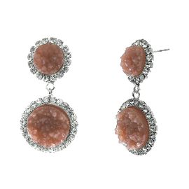 <BR>        W29494E - BEAUTIFUL NEW FASHION JEWELRY EXCLUSIVE <BR>  DUSTY ROSE NATURAL GEODE STONE AND CLEAR CRYSTAL ACCENTED<BR>    TWO TIERED SILVER TONE POST SETTING FASHION EARRINGS<BR>                     NO NICKEL, LEAD, OR POISONOUS CADMIUM.  <br>                            BUY THESE EARRINGS FOR $7.50 EACH