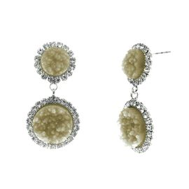 <BR>        W29495E - BEAUTIFUL NEW FASHION JEWELRY EXCLUSIVE <BR>  DUSKY AMBER NATURAL GEODE STONE AND CLEAR CRYSTAL ACCENTED<BR>    TWO TIERED SILVER TONE POST SETTING FASHION EARRINGS<BR>                     NO NICKEL, LEAD, OR POISONOUS CADMIUM.  <br>                            BUY THESE EARRINGS FOR $7.50 EACH