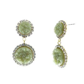 <BR>        W29498E - BEAUTIFUL NEW FASHION JEWELRY EXCLUSIVE <BR>  JADE GREEN NATURAL GEODE STONE AND CLEAR CRYSTAL ACCENTED<BR>      TWO TIERED GOLD TONE POST SETTING FASHION EARRINGS<BR>                     NO NICKEL, LEAD, OR POISONOUS CADMIUM.  <br>                            BUY THESE EARRINGS FOR $7.50 EACH