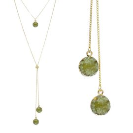 <BR>     W29505N12 - EXCITING NEW FASHION JEWELRY EXCLUSIVE <BR>  JADE GREEN NATURAL GEODE CRYSTAL GOLD-TONE NECKLACE <BR>    ADJUSTABLE GOLD-TONE BEAD FOR DANGLING GEODE PENDANTS<BR>                     NO NICKEL, LEAD, OR POISONOUS CADMIUM.  <br>                              BUY THIS NECKLACE FOR $11.25 EACH