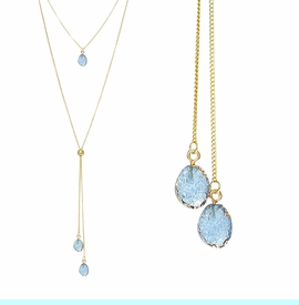 <BR>     W29510N12 - EXCITING NEW FASHION JEWELRY EXCLUSIVE <BR>  BRIGHT BLUE NATURAL GEODE CRYSTAL GOLD-TONE NECKLACE <BR>    ADJUSTABLE GOLD-TONE BEAD FOR DANGLING GEODE PENDANTS<BR>                     NO NICKEL, LEAD, OR POISONOUS CADMIUM.  <br>                              BUY THIS NECKLACE FOR $11.25 EACH