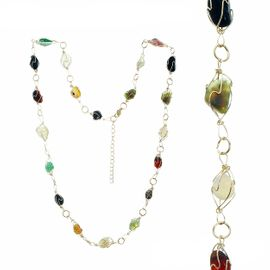 <BR>     W29511N12 - EXCITING NEW FASHION JEWELRY EXCLUSIVE <BR>  ADJUSTABLE GOLD-TONE WIRE NECKLACE WITH MULTIPLE POLISHED <BR>JET, JADE, AMBER, TOPAZ, CLEAR AND WHITE STONES IN SETTINGS <BR>                     NO NICKEL, LEAD, OR POISONOUS CADMIUM.  <br>                              BUY THIS NECKLACE FOR $11.25 EACH