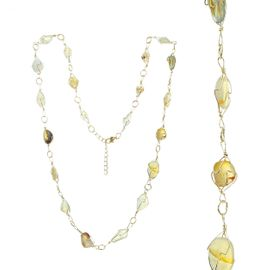 <BR>     W29514N12 - EXCITING NEW FASHION JEWELRY EXCLUSIVE <BR>  ADJUSTABLE GOLD-TONE WIRE NECKLACE WITH MULTIPLE SMOOTH<BR>CLEAR AND YELLOW TOPAZ TONED STONES IN GOLD-TONE WIRE SETTINGS <BR>                     NO NICKEL, LEAD, OR POISONOUS CADMIUM.  <br>                              BUY THIS NECKLACE FOR $11.25 EACH