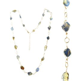 <BR>     W29515N12 - EXCITING NEW FASHION JEWELRY EXCLUSIVE <BR>  ADJUSTABLE GOLD-TONE WIRE NECKLACE WITH MULTIPLE SMOOTH<BR>BLUE AND YELLOW TOPAZ TONED STONES IN GOLD-TONE WIRE SETTINGS <BR>                     NO NICKEL, LEAD, OR POISONOUS CADMIUM.  <br>                              BUY THIS NECKLACE FOR $11.25 EACH