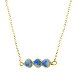 <BR>     W29518N12 - EXCITING NEW FASHION JEWELRY EXCLUSIVE <BR>      GOLD TONE CHAIN NECKLACE WITH THREE ROUND WHITE <BR>       AND BLUE MARBLE TONED STONES IN WIRE PENDANT<BR>                     NO NICKEL, LEAD, OR POISONOUS CADMIUM.  <br>                              BUY THIS NECKLACE FOR $10.50 EACH
