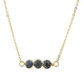 <BR>     W29519N12 - EXCITING NEW FASHION JEWELRY EXCLUSIVE <BR>      GOLD TONE CHAIN NECKLACE WITH THREE ROUND BLACK<BR>       AND WHITE MARBLE TONED STONES IN WIRE PENDANT<BR>                     NO NICKEL, LEAD, OR POISONOUS CADMIUM.  <br>                              BUY THIS NECKLACE FOR $10.50 EACH
