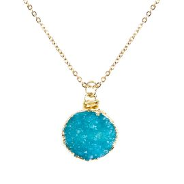 <BR>     W29528N12 - EXCITING NEW FASHION JEWELRY EXCLUSIVE <BR> AQUAMARINE TONE NATURAL GEODE CRYSTAL GOLD-TONE PENDANT <BR>    ON BEAUTIFUL ADJUSTABLE GOLD-TONE CHAIN LINK NECKLACE<BR>                     NO NICKEL, LEAD, OR POISONOUS CADMIUM.  <br>                              BUY THIS NECKLACE FOR $10.00 EACH