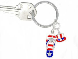 <BR>  W2984KC-NEW PATRIOTIC FLIP<BR>FLOP KEY CHAIN AS LOW AS $1.99
