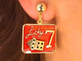 <BR>     W2997E-NEW! LUCKY 7 <BR>     GOLD FINISH EARRINGS<BR>           AS LOW AS $4.85