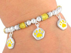 <br>     W3073B - LEAD & NICKEL FREE<bR>CHILDREN'S YELLOW STRETCH PAW<Br>    BRACELET FROM $2.81 TO $6.25