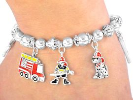 W3092B-NEW! FIREMANS STRETCH<BR>      DANGLING CHARM BRACELET<BR>                  AS LOW AS $3.35