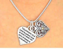 <BR>     W3254NE-NEW! GORGEOUS<BR> TWO-TONE SCRIPTURE HEARTS<BR>   NECKLACE AND EARRING SET<BR>          FROM $6.19 TO $13.75<BR>                �2009 CineCorp