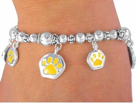 "W3290B -  YELLOW ""SCHOOL<BR>     SPIRIT"" PAWS BRACELET<BR>          FROM $3.35 TO $7.50"