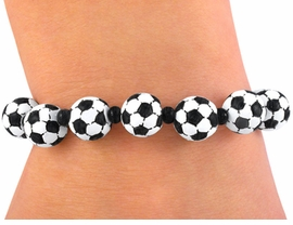W3498B - SOCCER BALL  STRETCH<BR>    BRACELET FROM $4.50 TO $10.00