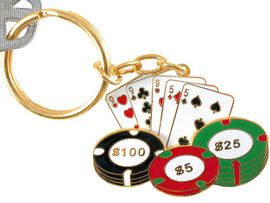 """<br>     W3571KC-NEW! GOLD FINISH<br>""""FULL HOUSE"""" POKER KEY CHAIN<br>                AS LOW AS $3.25"""
