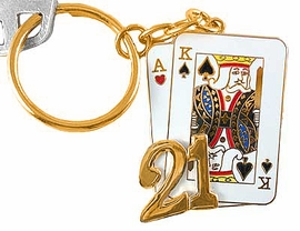 """<br>        W3572KC-NEW! GOLD FINISH<br> """"BLACK JACK"""" GAMBLING KEY CHAIN<br>                   AS LOW AS $3.25"""