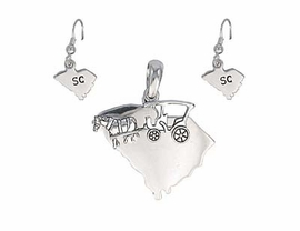 W3586PE-NEW! SILVER FINISH<BR>   SOUTH CAROLINA PENDANT,<BR>       SLIDER & EARRING SET<BR>             AS LOW AS $2.30