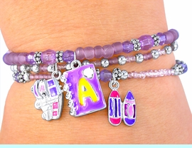 """<BR>      W3645BA - GREAT""""LEAD FREE""""<br>TRIPLE STRAND """"SCHOOL TIME FUN""""<BR>      CHILDREN'S CHARM BRACELET<BR> ASSORTMENT FROM $2.25 TO $5.00"""