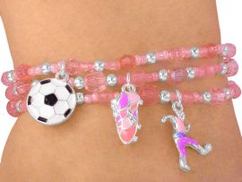 "<Br> W3647BA - LEAD & NICKEL FREE<BR>TRIPLE STRAND ""KICKIN' SOCCER""<BR>   CHILDREN'S CHARM BRACELET<BR>  ASSORTMENT AS LOW AS $4.64"
